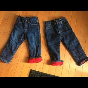 2 Pair Fleece lined jeans (old navy & Oshkosh)